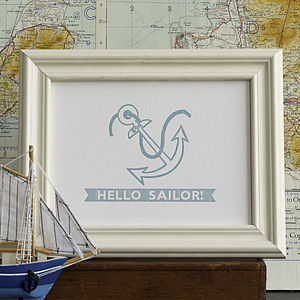 Hello Sailor Nautical Letterpress Print - view all sale items