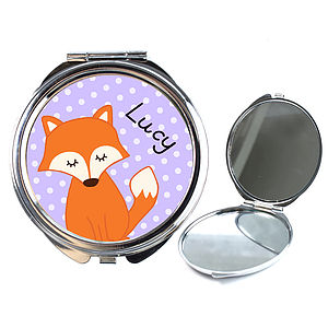 Personalised Fox Compact Mirror