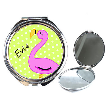 Personalised Flamingo Compact Mirror