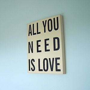 'All You Need Is Love' Wooden Sign - room decorations
