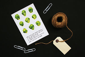 Retro Brussels Sprout Christmas Card