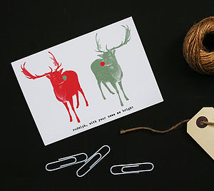 Retro Reindeers Christmas Card
