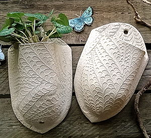 Leaf Stem Stoneware Plant Pocket - small garden ideas