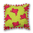 Flying Multi Pug Pompom Cushion Cover