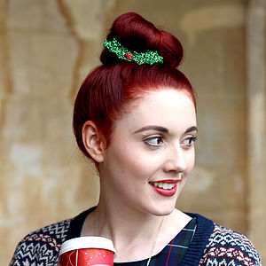 Glitter Holly Hair Clip - christmas sale