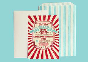 Personalised Circus Wedding Invitation