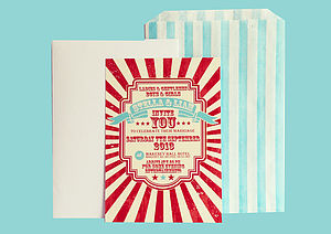 Personalised Circus Wedding Invitation