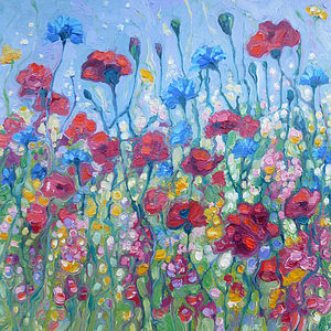 Framed Oil Painting Of Wild Summer Flowers - contemporary art