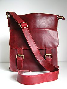 Leather Cross Body Messenger Bag, Vintage Red