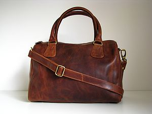 Vintage Style Leather Barrel Handbag