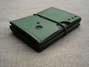 Leather Zigzag Wallet In Green Or Black - purses & wallets