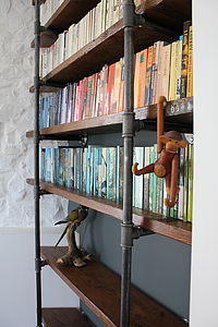 Sebastian Industrial Vintage Wooden Shelves - living room