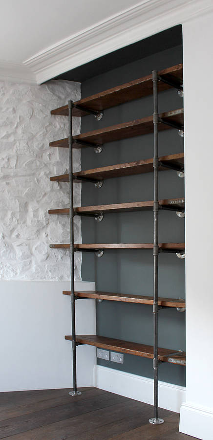 Sebastian industrial vintage wooden shelves by urban grain Wall mounted bookcase shelves