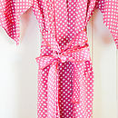 Cotton Kimono Dressing Gown Watermelon Spotty Dotty