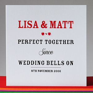 Personalised Perfect Together Since Card - anniversary cards