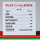 Personalised Kissing Booth Card
