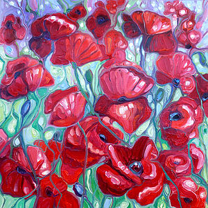 Framed Oil Painting Of Wild Summer Poppies - children's pictures & paintings