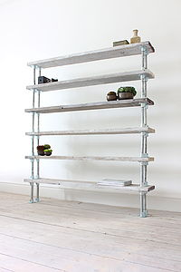 Reclaimed Wood And Steel Pipe Shelving