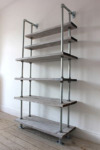 Reclaimed Wood And Galvanised Steel Shelving - furniture