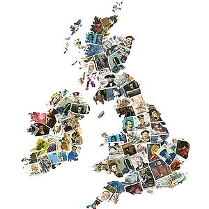 British Isles Map Artwork Inspired By People - maps & locations