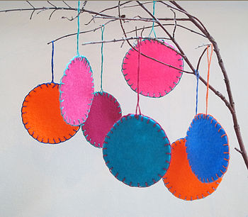 Five Colour Pop Felt Christmas Baubles