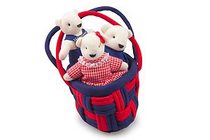 Basket of 3 Teddies