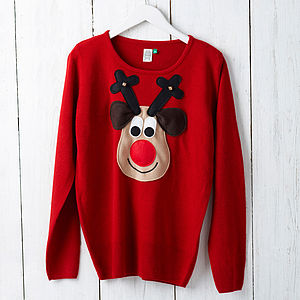 Ladies Squeaky Nose Rudolph Christmas Jumper - christmas jumpers