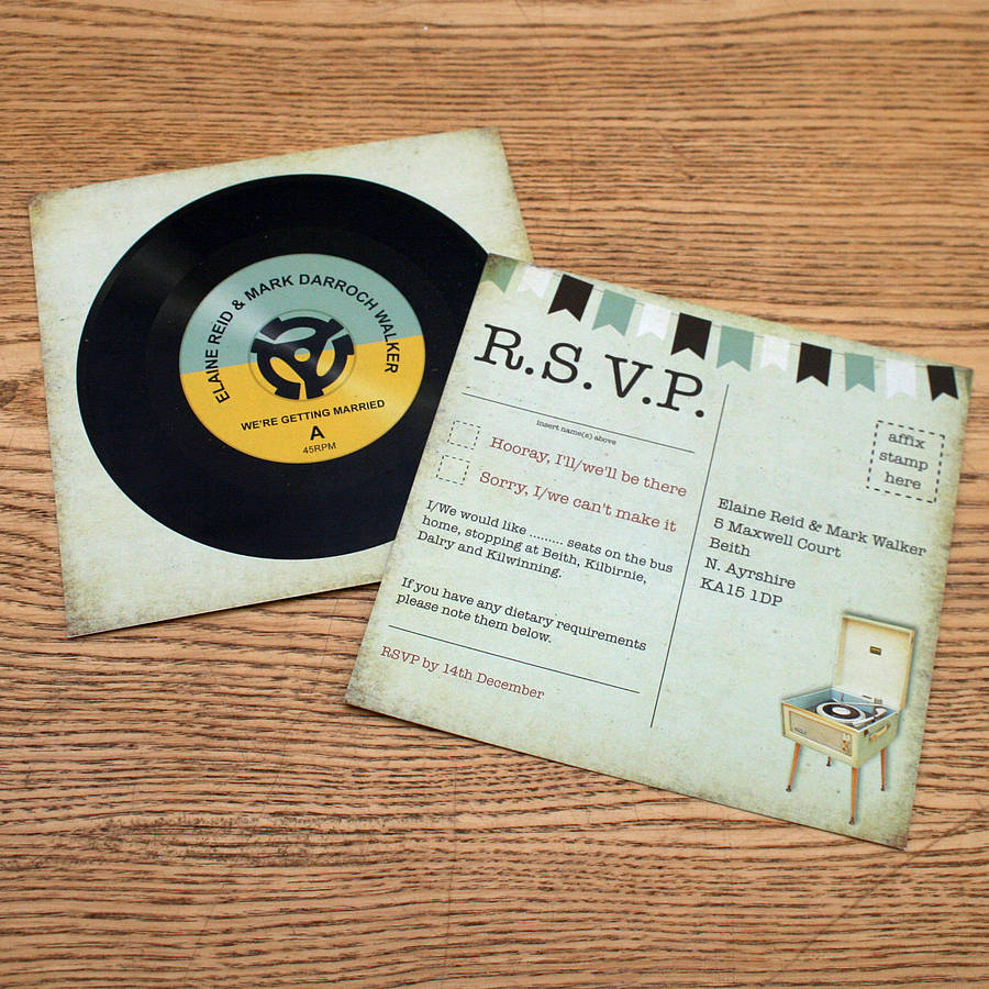 Vinyl Record Music Themed Wedding Rsvp By Magik Moments