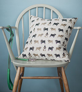 Pug Linen Cushion - patterned cushions