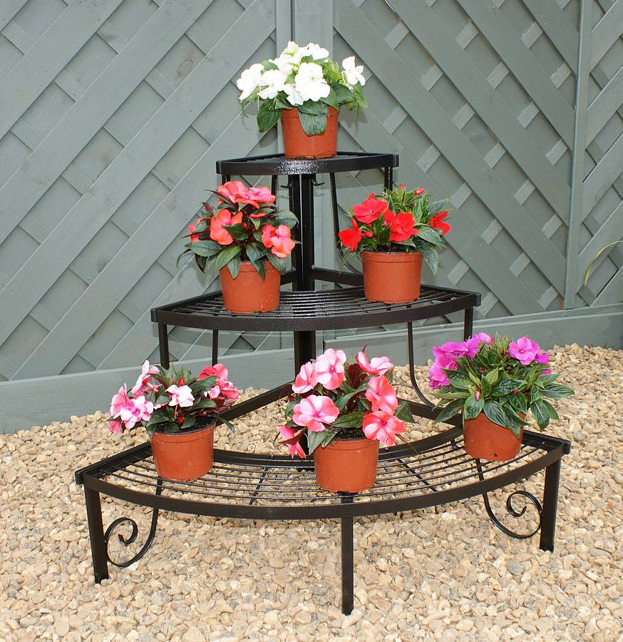 Three tier decorative corner pot stand by gap garden products - Steel pot plant stands ...