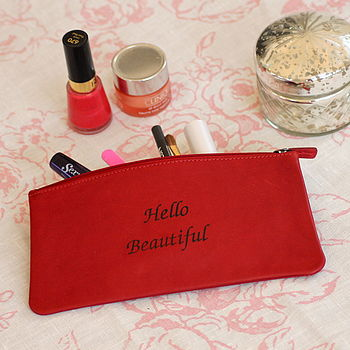 Leather 'Hello Beautiful' Make Up Bag