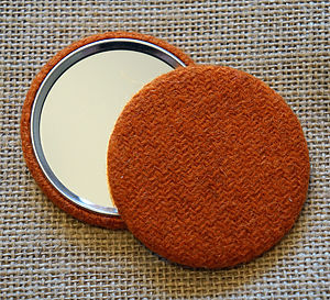 Harris Tweed Brilliant Orange Pocket Mirror
