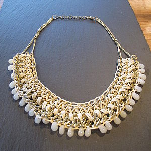 Cream Statement Necklace - necklaces & pendants