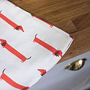 Dachshund Print Tea Towel