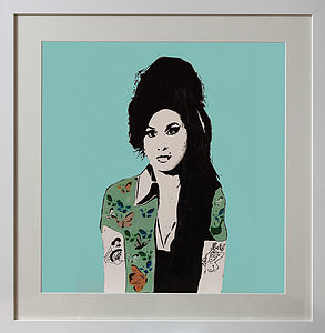 Framed Blue Amy Winehouse Print - contemporary art