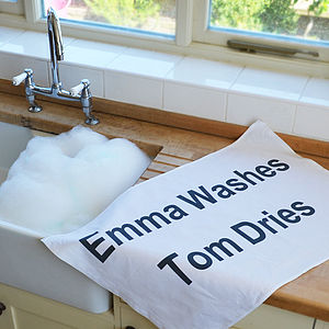 Personalised Tea Towel - kitchen linen