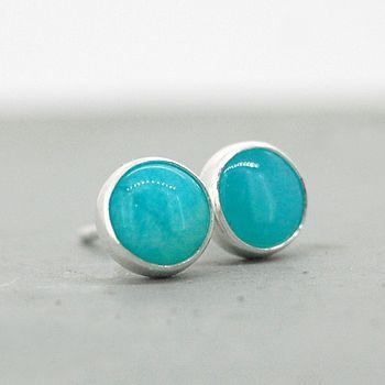 Amazonite handmade silver earrings