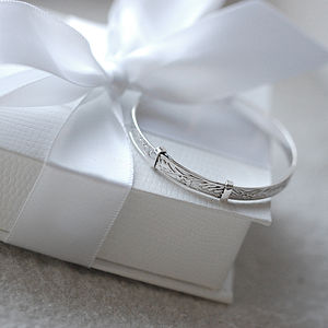Sterling Silver Christening Baby Bangle - christening jewellery