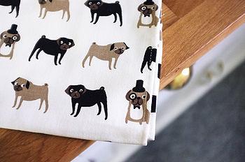 Pug Print Tea Towel