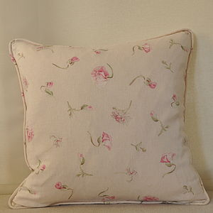 Sweet Pea And Daisy Piped Cushion Cover - cushions