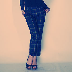 Check Straight Leg Silk Trousers