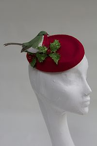 Christmas Robin And Holly Pillbox Hat