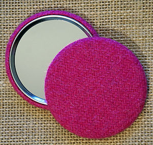 Harris Tweed Bubble Gum Pink Pocket Mirror