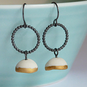 Satin Dome Porcelain And Silver Earrings