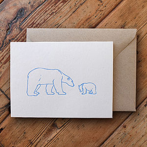 Polar Bear Letterpress Card