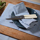 Blue Natural Striped Linen Napkin Jazz