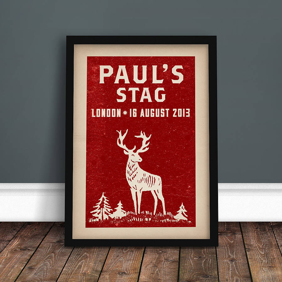 Personalised stag party print by ink sons notonthehighstreet the stag party personalised print red monicamarmolfo Choice Image