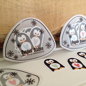 Hand Cut Penguin Stickers In A Paper Igloo - office & study