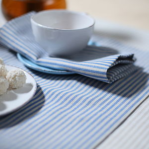 Blue Natural Striped Linen Jazz Placemat - bed, bath & table linen