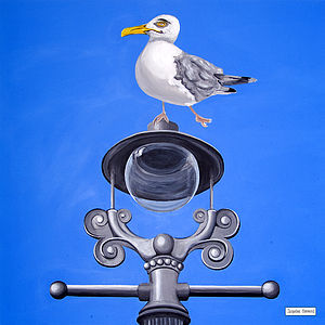 Seagull On A Lamp Post Original Painting - animals & wildlife